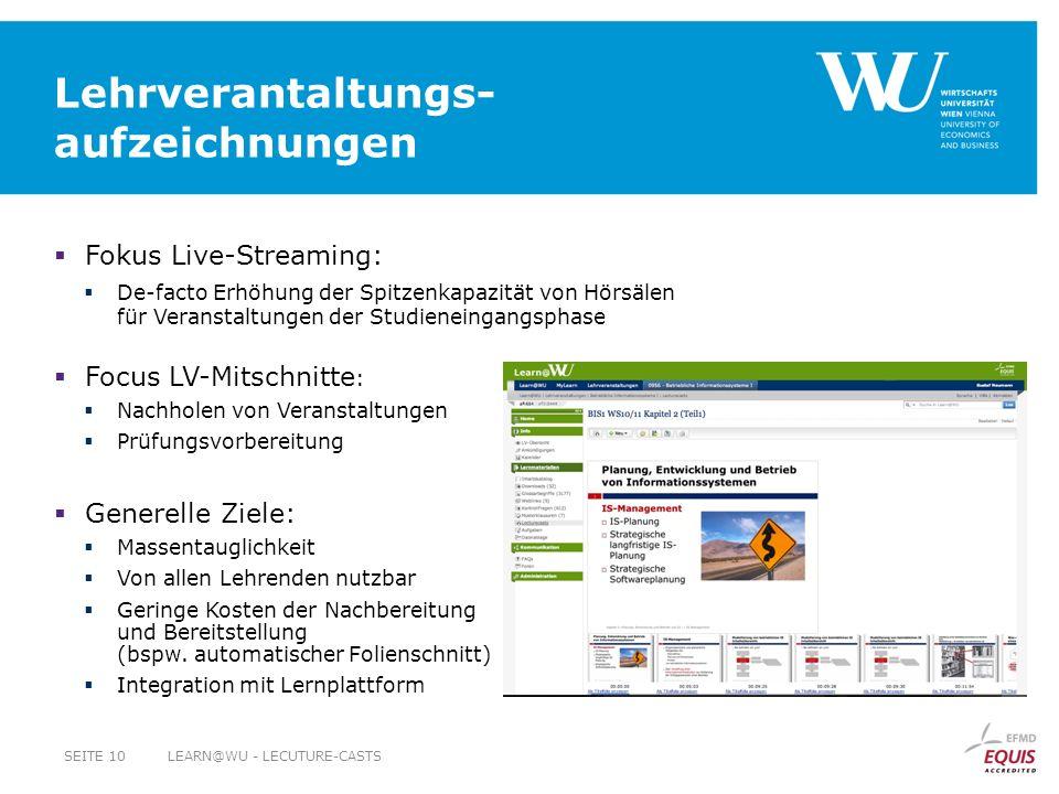 Lehrverantaltungs- aufzeichnungen Fokus Live-Streaming: De-facto Erhöhung der Spitzenkapazität von Hörsälen für Veranstaltungen der Studieneingangspha
