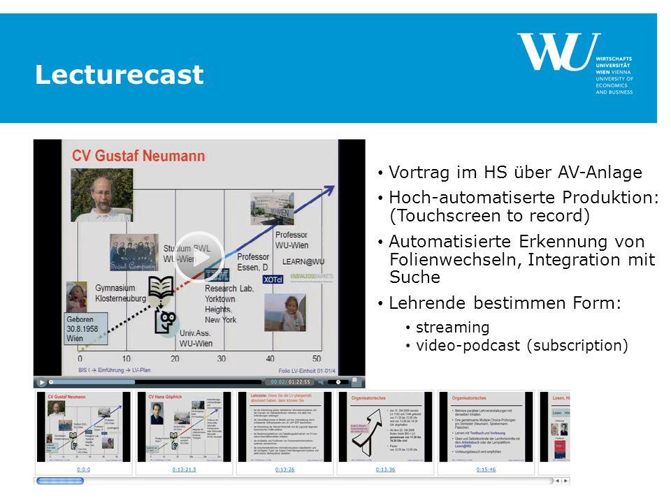 Lecturecast Vortrag im HS über AV-Anlage Hoch-automatiserte Produktion: (Touchscreen to record) Automatisierte Erkennung von Folienwechseln, Integration mit Suche Lehrende bestimmen Form: streaming video-podcast (subscription)