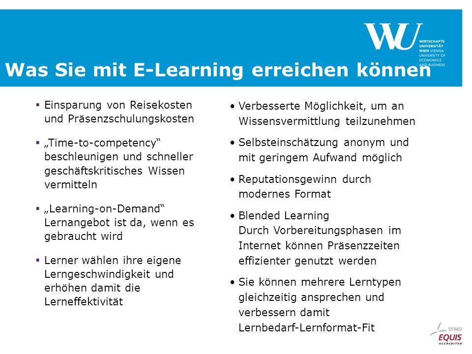 Was Sie mit E-Learning erreichen können Einsparung von Reisekosten und Präsenzschulungskosten Time-to-competency beschleunigen und schneller geschäfts