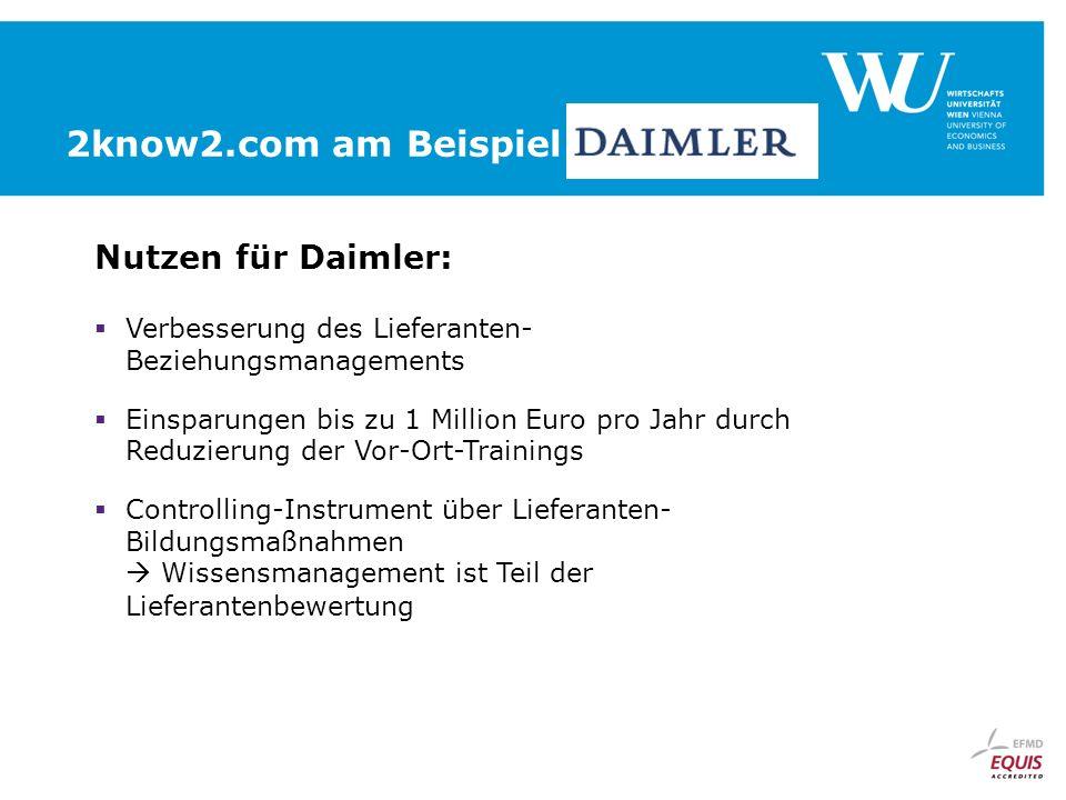 Nutzen für Daimler: Verbesserung des Lieferanten- Beziehungsmanagements Einsparungen bis zu 1 Million Euro pro Jahr durch Reduzierung der Vor-Ort-Trainings Controlling-Instrument über Lieferanten- Bildungsmaßnahmen Wissensmanagement ist Teil der Lieferantenbewertung 2know2.com am Beispiel