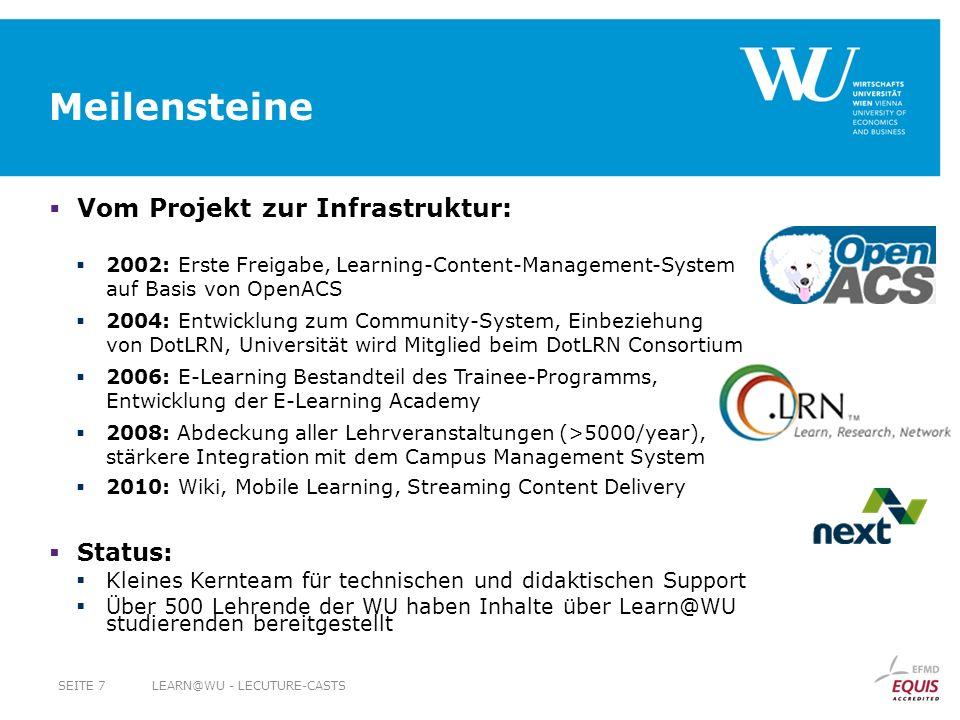 Meilensteine Vom Projekt zur Infrastruktur: 2002: Erste Freigabe, Learning-Content-Management-System auf Basis von OpenACS 2004: Entwicklung zum Commu