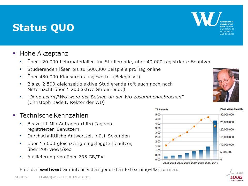 Status QUO Hohe Akzeptanz Über 120.000 Lehrmaterialien für Studierende, über 40.000 registrierte Benutzer Studierenden lösen bis zu 600.000 Beispiele pro Tag online Über 480.000 Klausuren ausgewertet (Belegleser) Bis zu 2.500 gleichzeitig aktive Studierende (oft auch noch nach Mitternacht über 1.200 aktive Studierende) Ohne Learn@WU wäre der Betrieb an der WU zusammengebrochen (Christoph Badelt, Rektor der WU) Technische Kennzahlen Bis zu 11 Mio Anfragen (hits) Tag von registrierten Benutzern Durchschnittliche Antwortzeit <0,1 Sekunden Über 15.000 gleichzeitig eingeloggte Benutzer, über 200 views/sec Auslieferung von über 235 GB/Tag Eine der weltweit am intensivsten genutzten E-Learning-Plattformen.
