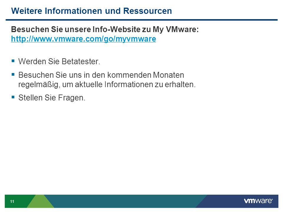 11 Weitere Informationen und Ressourcen Besuchen Sie unsere Info-Website zu My VMware: http://www.vmware.com/go/myvmware http://www.vmware.com/go/myvmware Werden Sie Betatester.