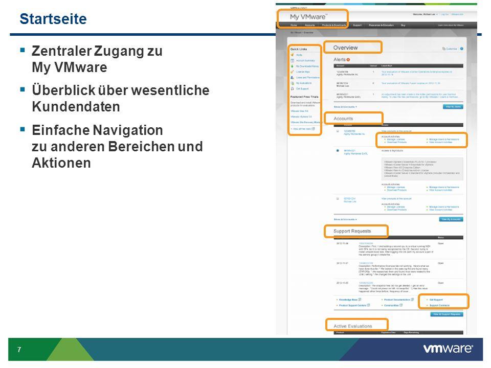 7 Startseite Zentraler Zugang zu My VMware Überblick über wesentliche Kundendaten Einfache Navigation zu anderen Bereichen und Aktionen