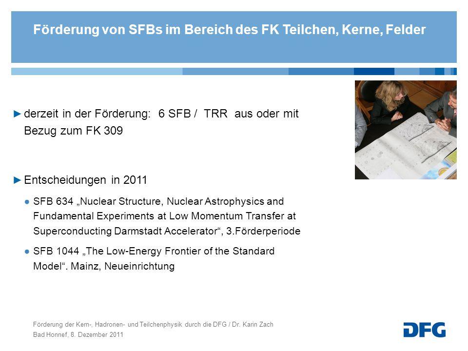 Förderung der Kern-, Hadronen- und Teilchenphysik durch die DFG / Dr. Karin Zach Bad Honnef, 8. Dezember 2011 Förderung von SFBs im Bereich des FK Tei