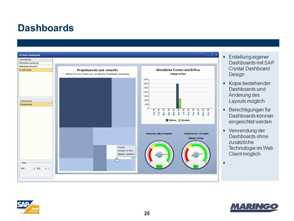 25 Dashboards Erstellung eigener Dashboards mit SAP Crystal Dashboard Design Kopie bestehender Dashboards und Änderung des Layouts möglich Berechtigun