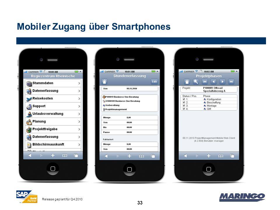 33 Mobiler Zugang über Smartphones Release geplant für Q4 2010