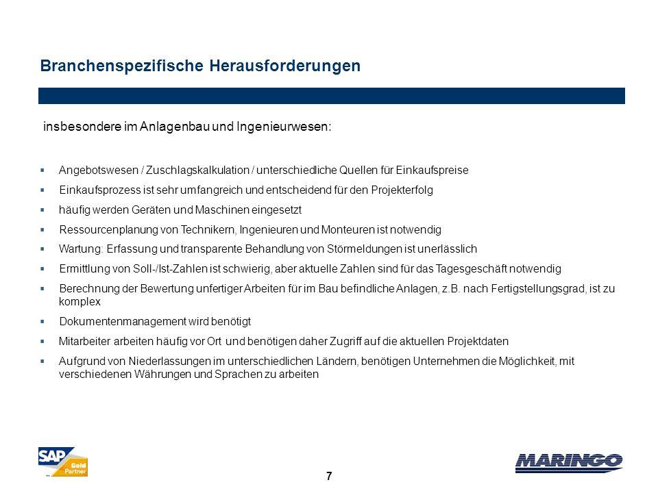 Branchenspezifische Herausforderungen 7 insbesondere im Anlagenbau und Ingenieurwesen: Angebotswesen / Zuschlagskalkulation / unterschiedliche Quellen