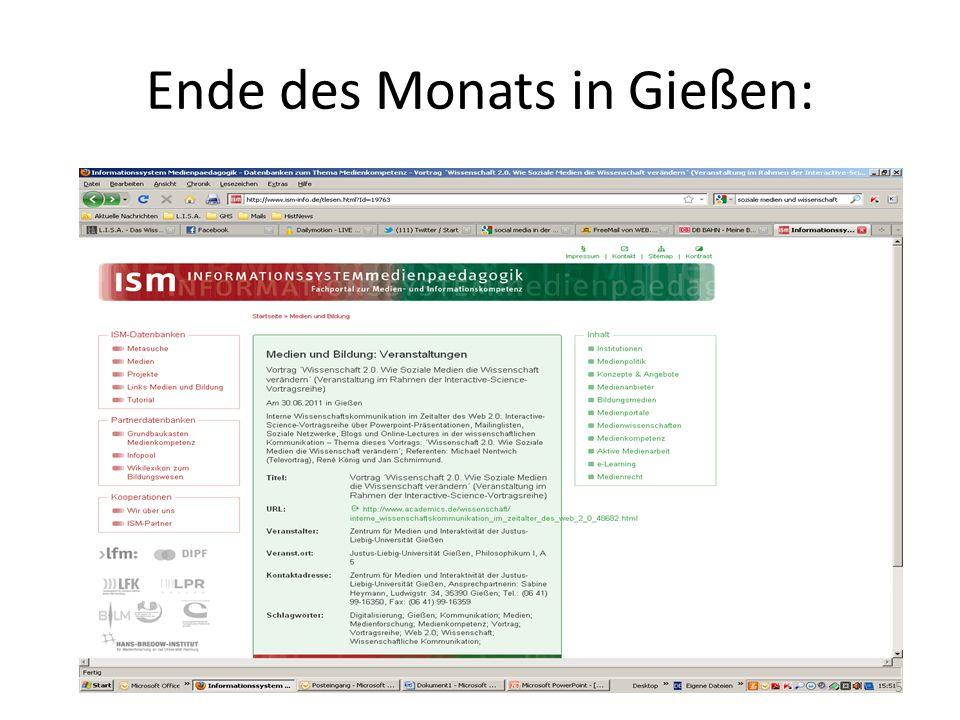 Ende des Monats in Gießen: 5