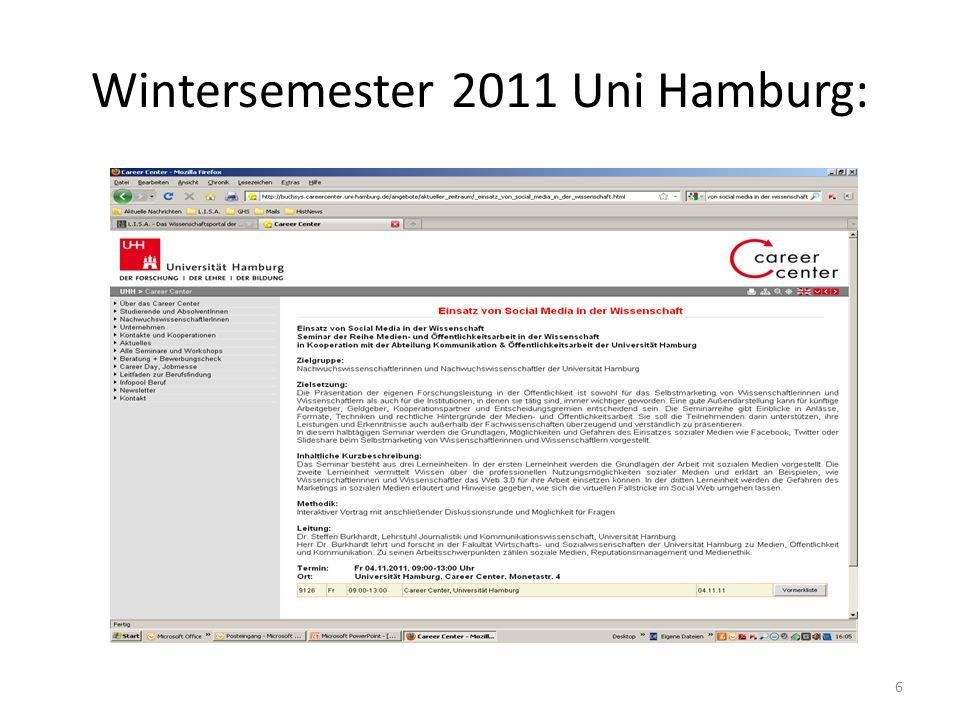 Wintersemester 2011 Uni Hamburg: 6