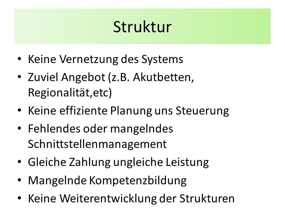 Struktur Keine Vernetzung des Systems Zuviel Angebot (z.B.