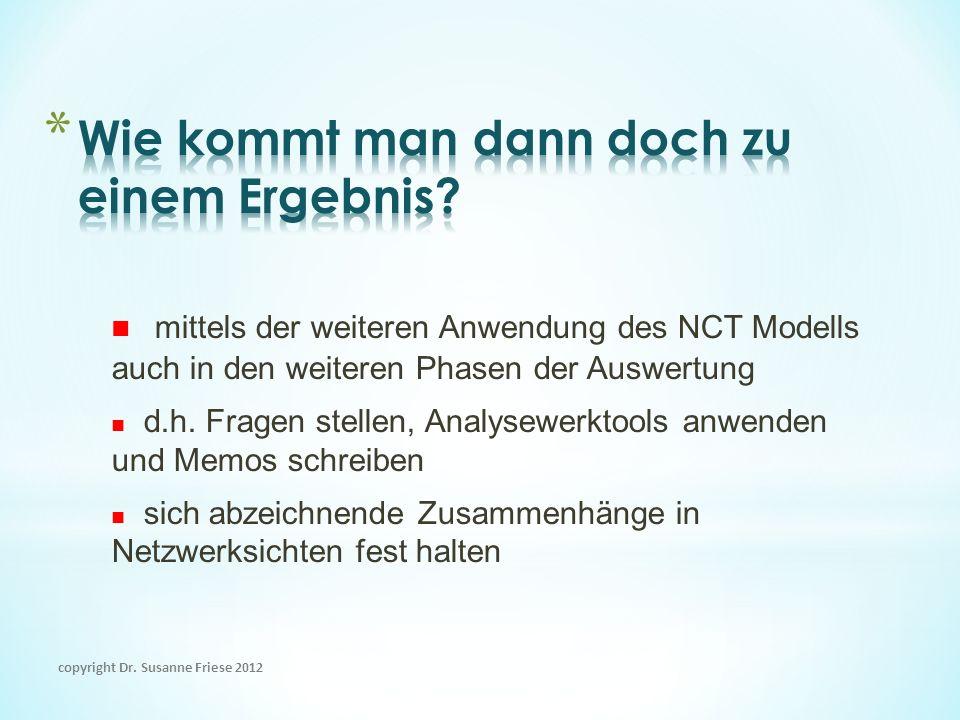 mittels der weiteren Anwendung des NCT Modells auch in den weiteren Phasen der Auswertung d.h. Fragen stellen, Analysewerktools anwenden und Memos sch