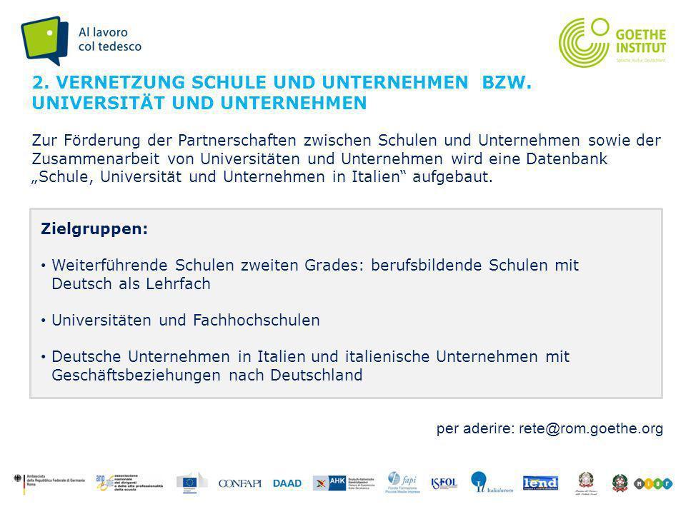 Seite 5 Zielgruppen: Weiterführende Schulen zweiten Grades: berufsbildende Schulen mit Deutsch als Lehrfach Universitäten und Fachhochschulen Deutsche Unternehmen in Italien und italienische Unternehmen mit Geschäftsbeziehungen nach Deutschland 2.