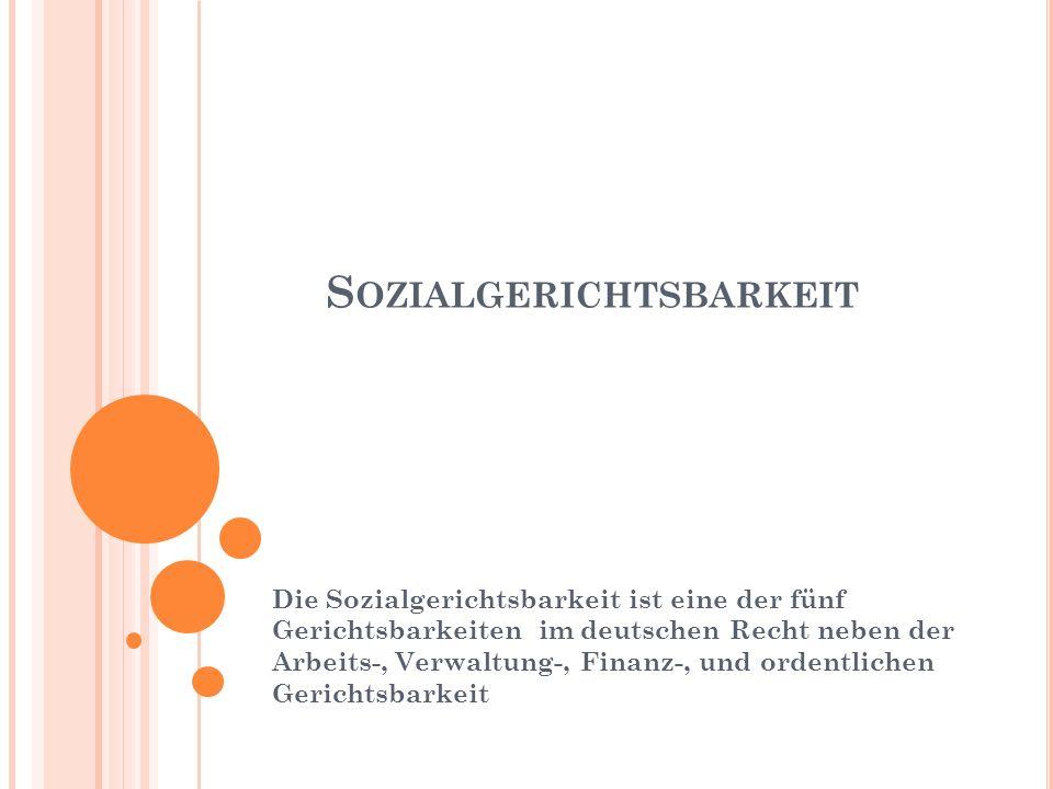 S OZIALGERICHTSBARKEIT Die Sozialgerichtsbarkeit ist eine der fünf Gerichtsbarkeiten im deutschen Recht neben der Arbeits-, Verwaltung-, Finanz-, und