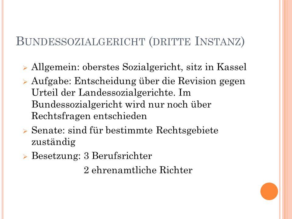 B UNDESSOZIALGERICHT ( DRITTE I NSTANZ ) Allgemein: oberstes Sozialgericht, sitz in Kassel Aufgabe: Entscheidung über die Revision gegen Urteil der La