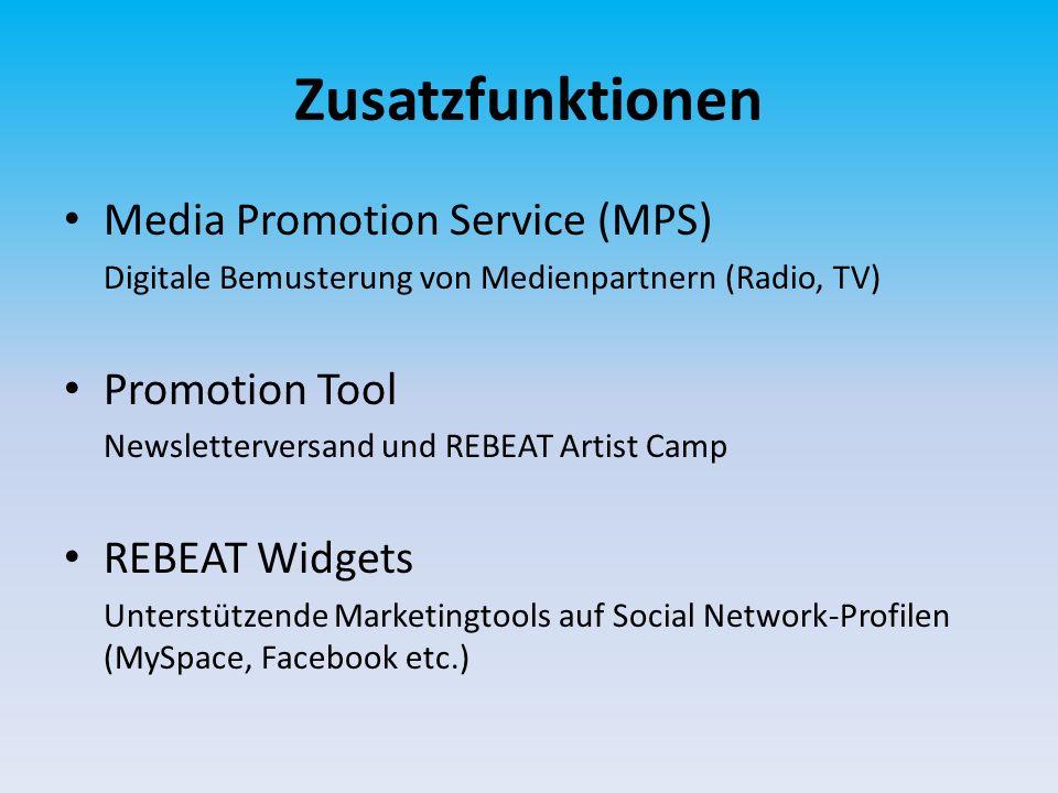 Zusatzfunktionen Media Promotion Service (MPS) Digitale Bemusterung von Medienpartnern (Radio, TV) Promotion Tool Newsletterversand und REBEAT Artist