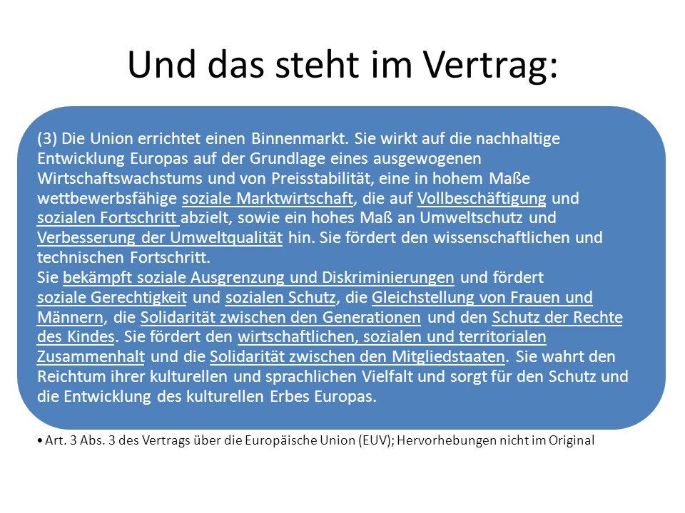 Und das steht im Vertrag: (3) Die Union errichtet einen Binnenmarkt. Sie wirkt auf die nachhaltige Entwicklung Europas auf der Grundlage eines ausgewo