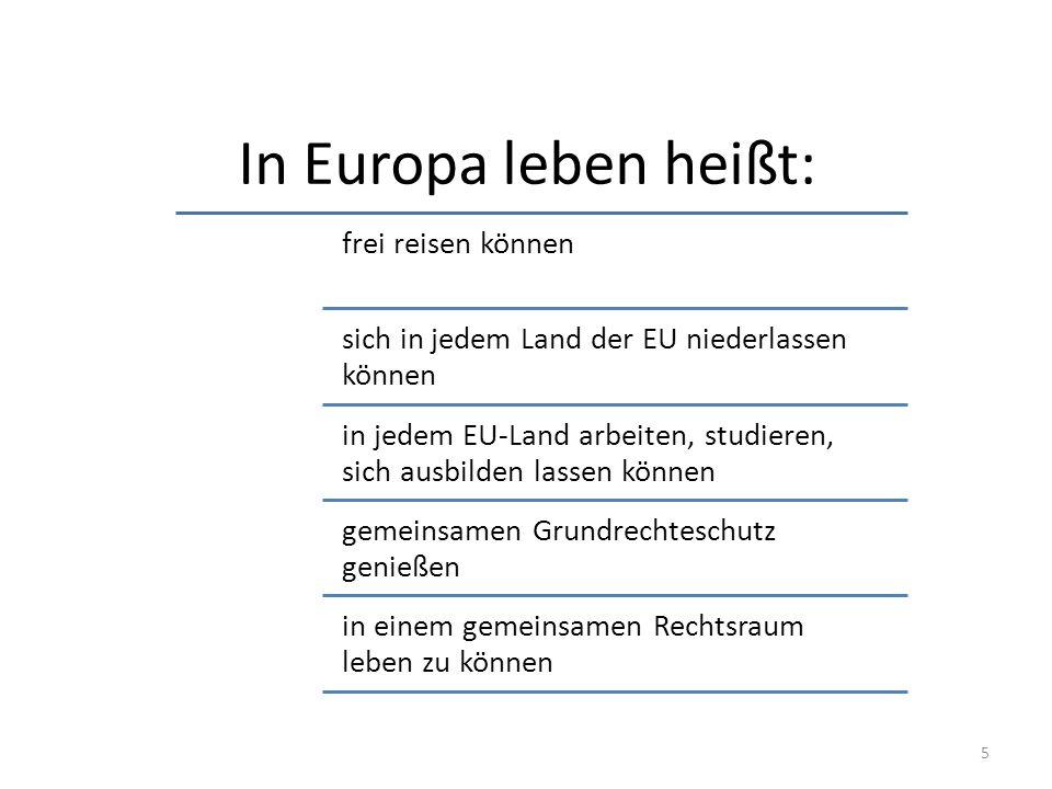 In Europa leben heißt: 5 frei reisen können sich in jedem Land der EU niederlassen können in jedem EU-Land arbeiten, studieren, sich ausbilden lassen