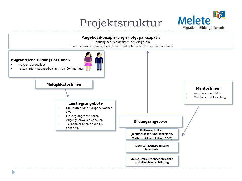 Projektstruktur migrantische BildungslotsInnen werden ausgebildet leisten Informationsarbeit in ihren Communities migrantische BildungslotsInnen werden ausgebildet leisten Informationsarbeit in ihren Communities Einstiegsangebote z.B.