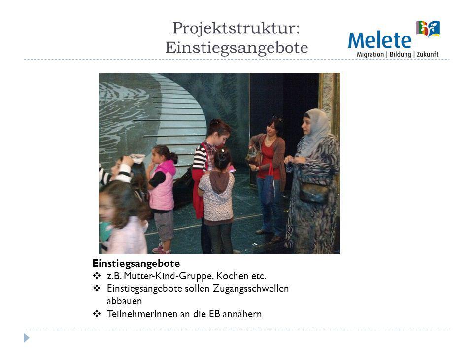 Projektstruktur: Einstiegsangebote Einstiegsangebote z.B.