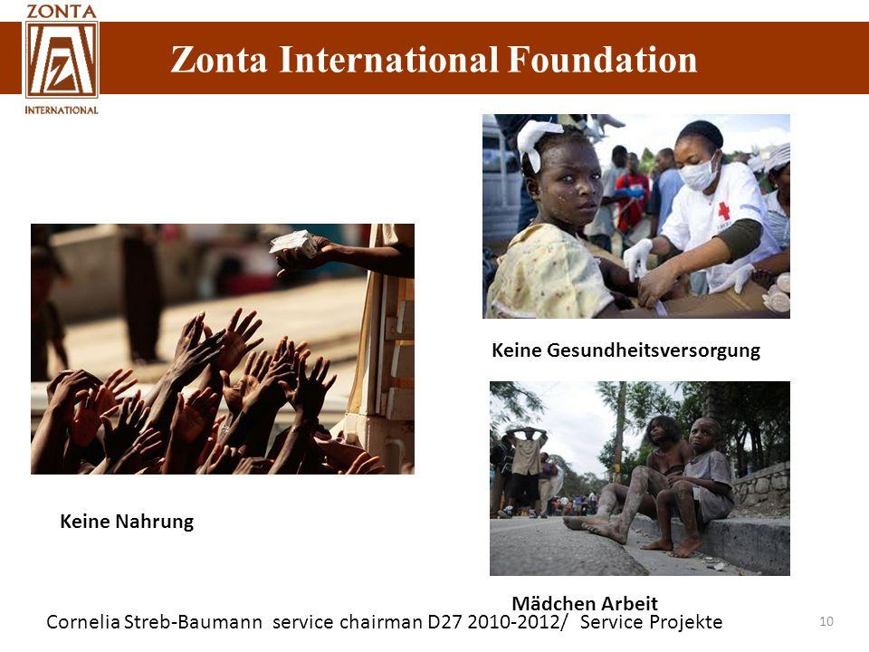 Zonta International Foundation Cornelia Streb-Baumann service chairman D27 2010-2012/ Service Projekte 10 Keine Nahrung Keine Gesundheitsversorgung Mä