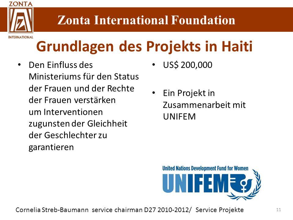 Zonta International Foundation Cornelia Streb-Baumann service chairman D27 2010-2012/ Service Projekte Zonta International Foundation 11 Grundlagen de