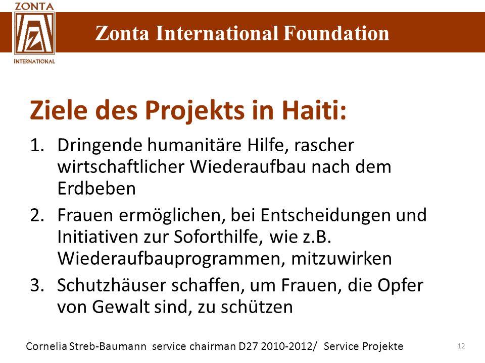 Zonta International Foundation Cornelia Streb-Baumann service chairman D27 2010-2012/ Service Projekte Zonta International Foundation 12 Ziele des Pro