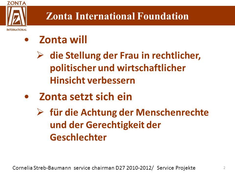 Zonta International Foundation Cornelia Streb-Baumann service chairman D27 2010-2012/ Service Projekte Zonta International Foundation 2 Zonta will die