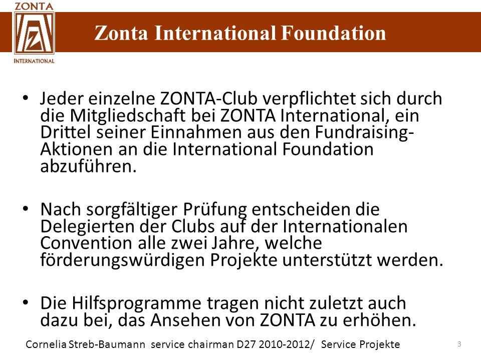 Zonta International Foundation Cornelia Streb-Baumann service chairman D27 2010-2012/ Service Projekte Zonta International Foundation 3 Jeder einzelne