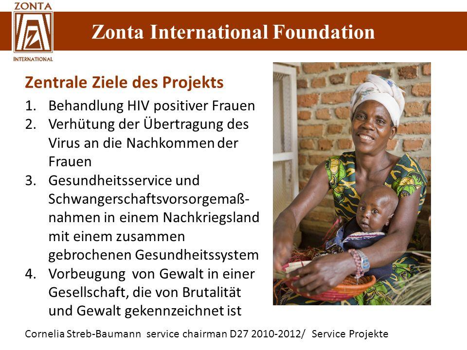 Zonta International Foundation Cornelia Streb-Baumann service chairman D27 2010-2012/ Service Projekte Zonta International Foundation 1.Behandlung HIV