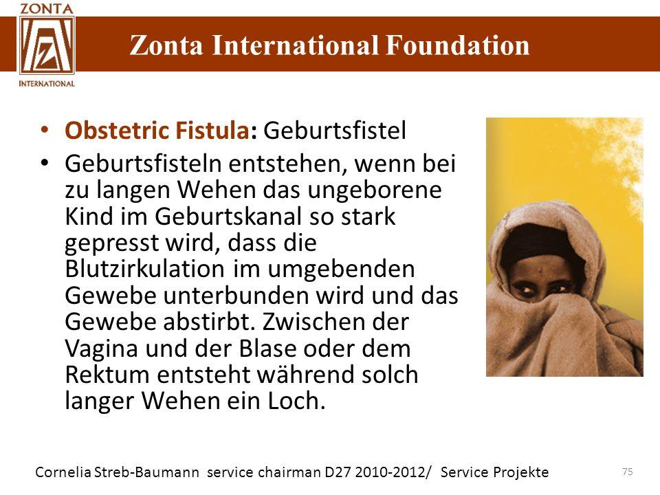 Cornelia Streb-Baumann service chairman D27 2010-2012/ Service Projekte Zonta International Foundation 75 Obstetric Fistula: Geburtsfistel Geburtsfist