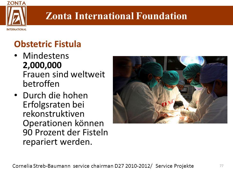 Zonta International Foundation Cornelia Streb-Baumann service chairman D27 2010-2012/ Service Projekte Zonta International Foundation 77 Obstetric Fis