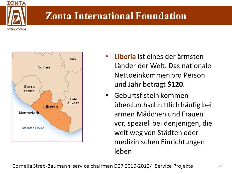 Zonta International Foundation Cornelia Streb-Baumann service chairman D27 2010-2012/ Service Projekte Zonta International Foundation 78 Liberia ist e
