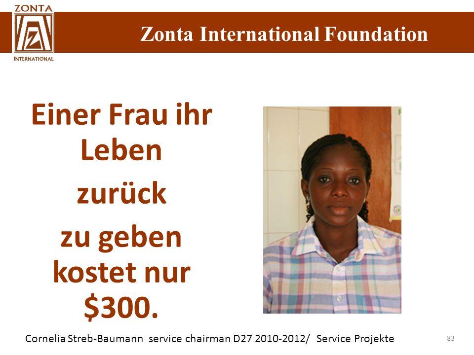 Cornelia Streb-Baumann service chairman D27 2010-2012/ Service Projekte Zonta International Foundation 83 Einer Frau ihr Leben zurück zu geben kostet
