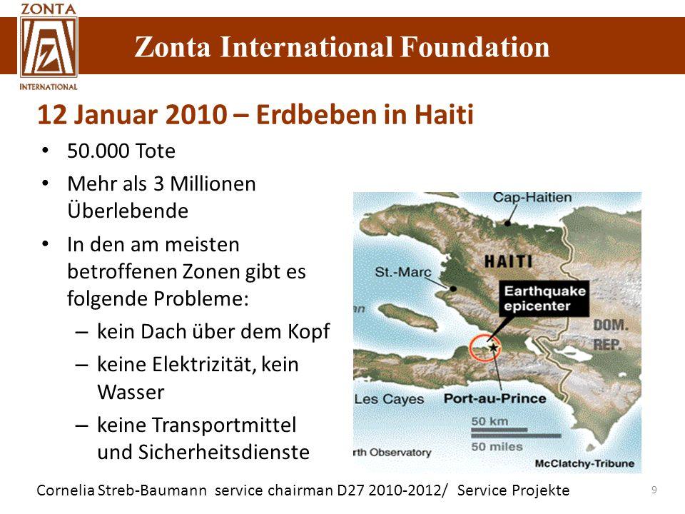 Cornelia Streb-Baumann service chairman D27 2010-2012/ Service Projekte Zonta International Foundation 9 50.000 Tote Mehr als 3 Millionen Überlebende