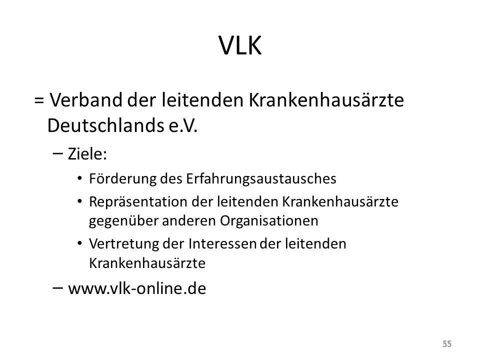 VLK = Verband der leitenden Krankenhausärzte Deutschlands e.V. – Ziele: Förderung des Erfahrungsaustausches Repräsentation der leitenden Krankenhausär
