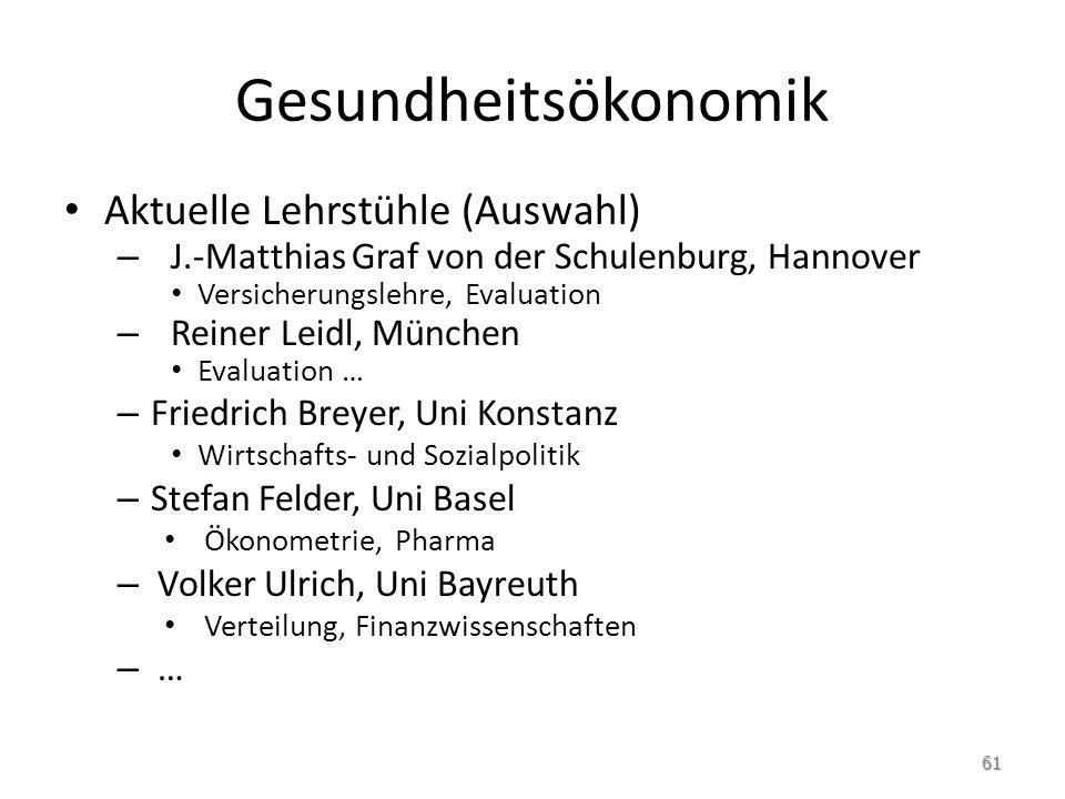 Gesundheitsökonomik Aktuelle Lehrstühle (Auswahl) – J.-Matthias Graf von der Schulenburg, Hannover Versicherungslehre, Evaluation – Reiner Leidl, Münc