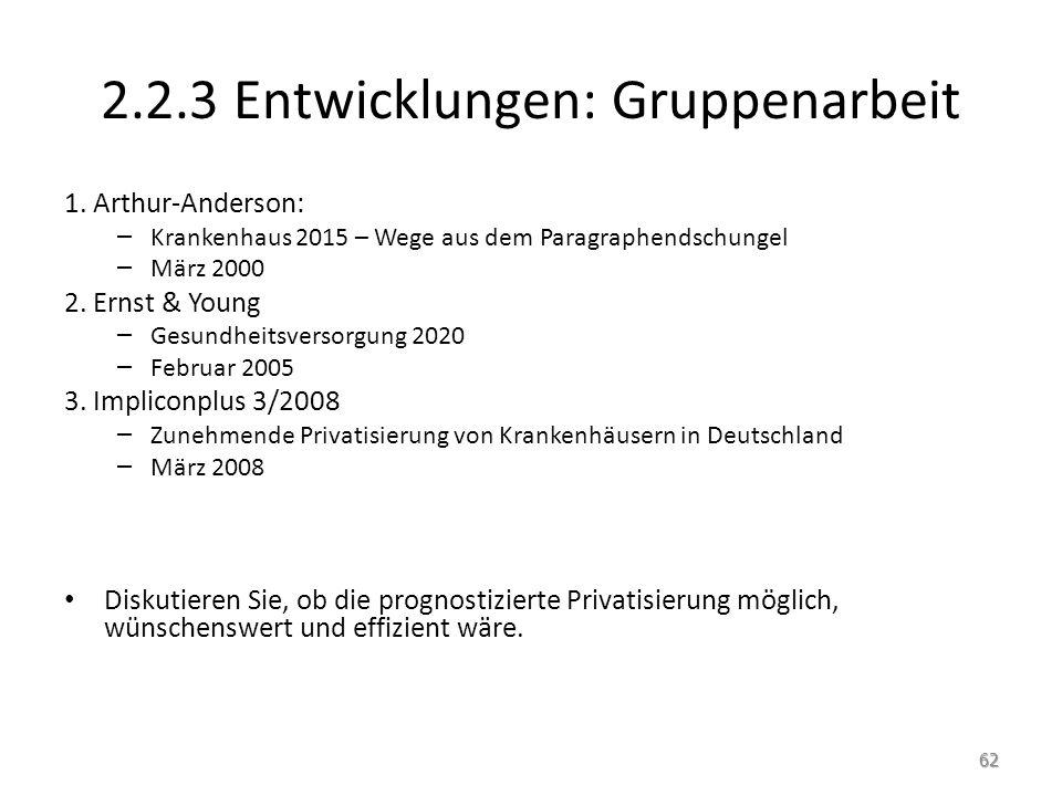 2.2.3 Entwicklungen: Gruppenarbeit 1. Arthur-Anderson: – Krankenhaus 2015 – Wege aus dem Paragraphendschungel – März 2000 2. Ernst & Young – Gesundhei