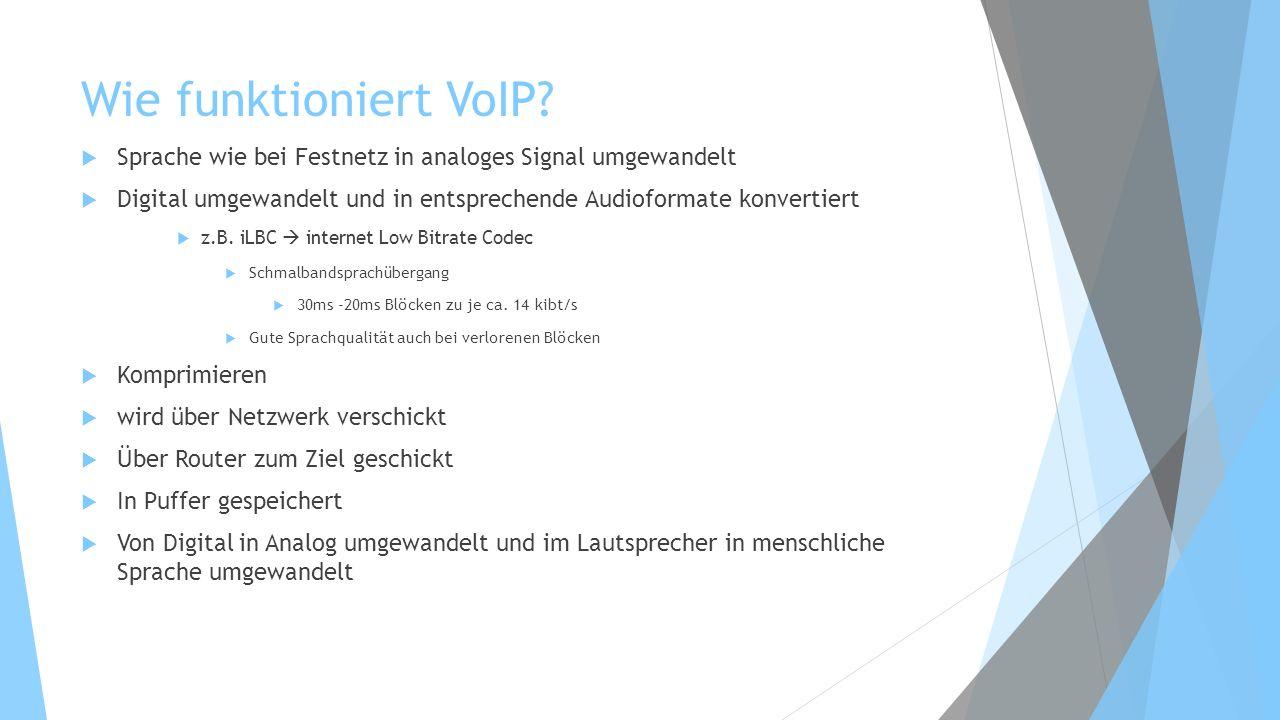 Wie funktioniert VoIP? Sprache wie bei Festnetz in analoges Signal umgewandelt Digital umgewandelt und in entsprechende Audioformate konvertiert z.B.