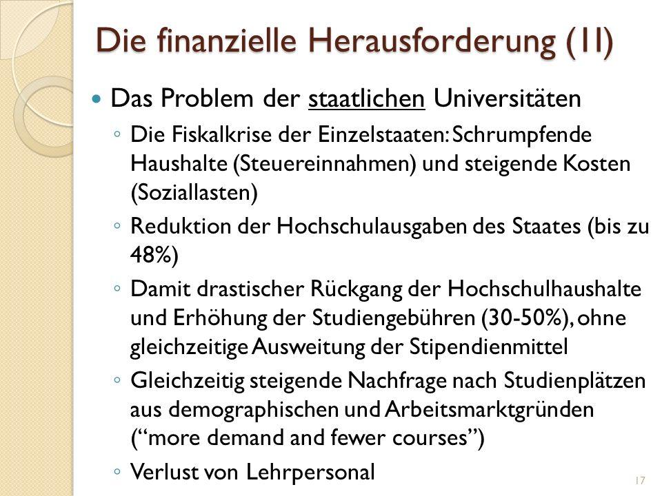 Die finanzielle Herausforderung (1I) Das Problem der staatlichen Universitäten Die Fiskalkrise der Einzelstaaten: Schrumpfende Haushalte (Steuereinnah