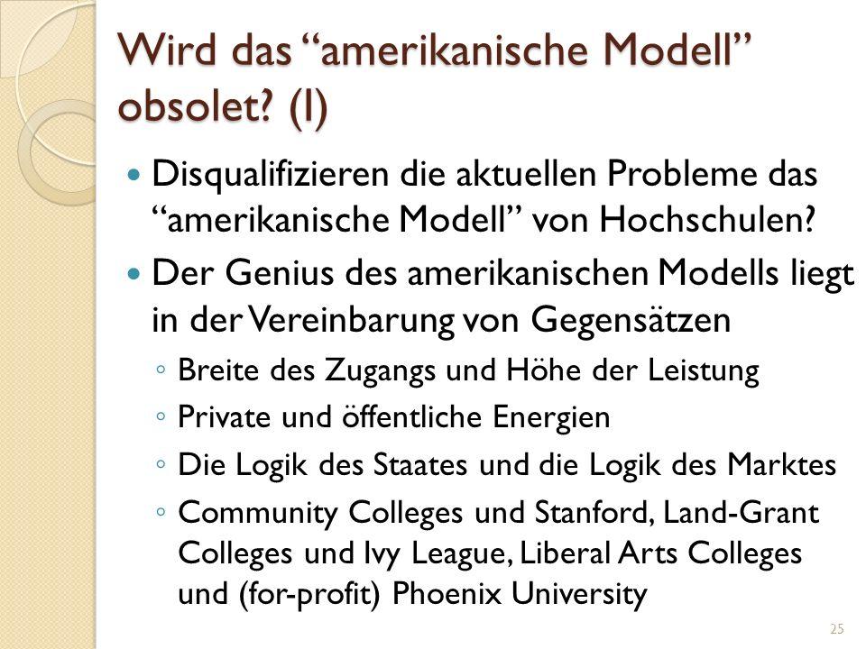 Wird das amerikanische Modell obsolet? (I) Disqualifizieren die aktuellen Probleme das amerikanische Modell von Hochschulen? Der Genius des amerikanis