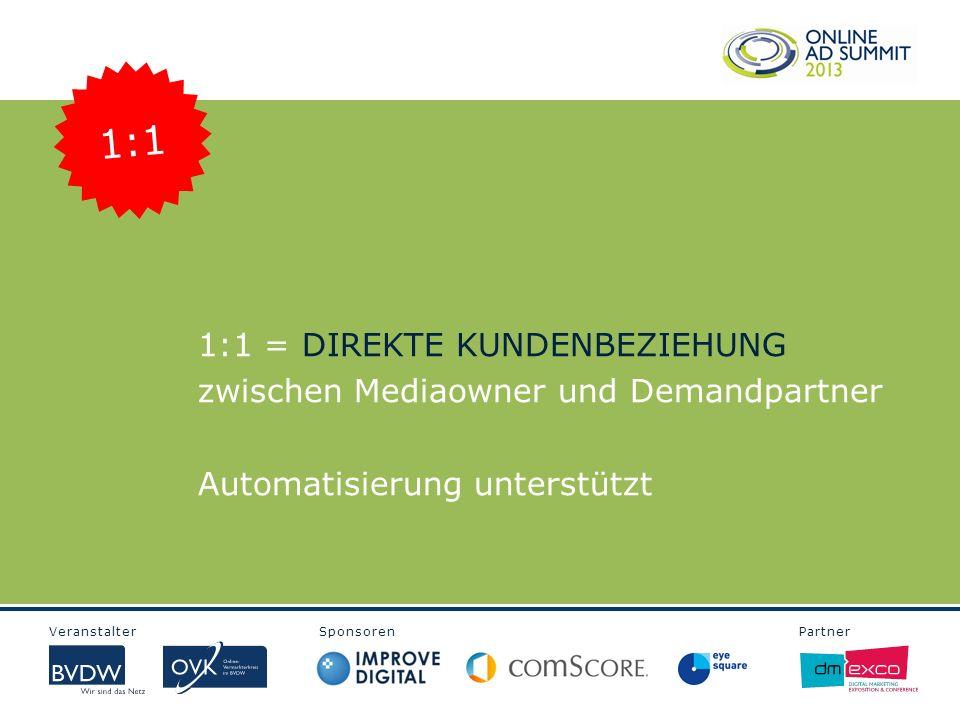 Veranstalter Sponsoren Partner 1:1 = DIREKTE KUNDENBEZIEHUNG zwischen Mediaowner und Demandpartner Automatisierung unterstützt 1:1
