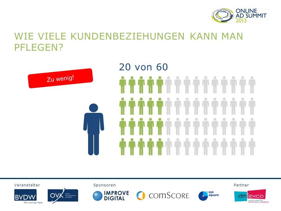 Veranstalter Sponsoren Partner WIE VIELE KUNDENBEZIEHUNGEN KANN MAN PFLEGEN? 20 von 60 Zu wenig!