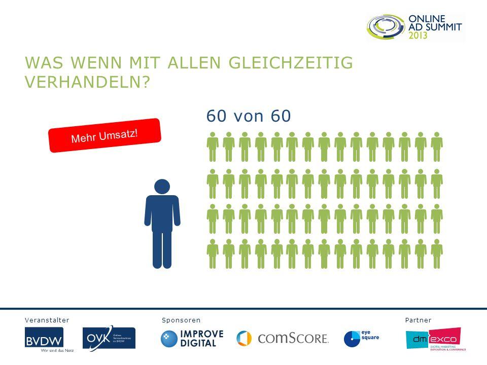 Veranstalter Sponsoren Partner WAS WENN MIT ALLEN GLEICHZEITIG VERHANDELN? 60 von 60 Mehr Umsatz!