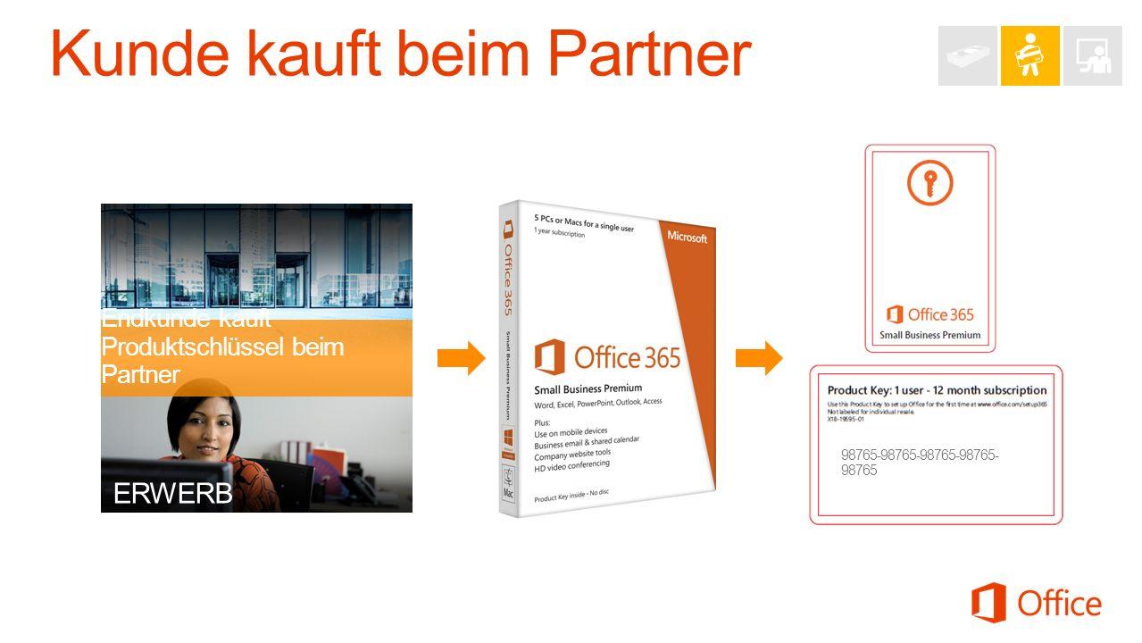 ERWERB Endkunde kauft Produktschlüssel beim Partner 98765-98765-98765-98765- 98765