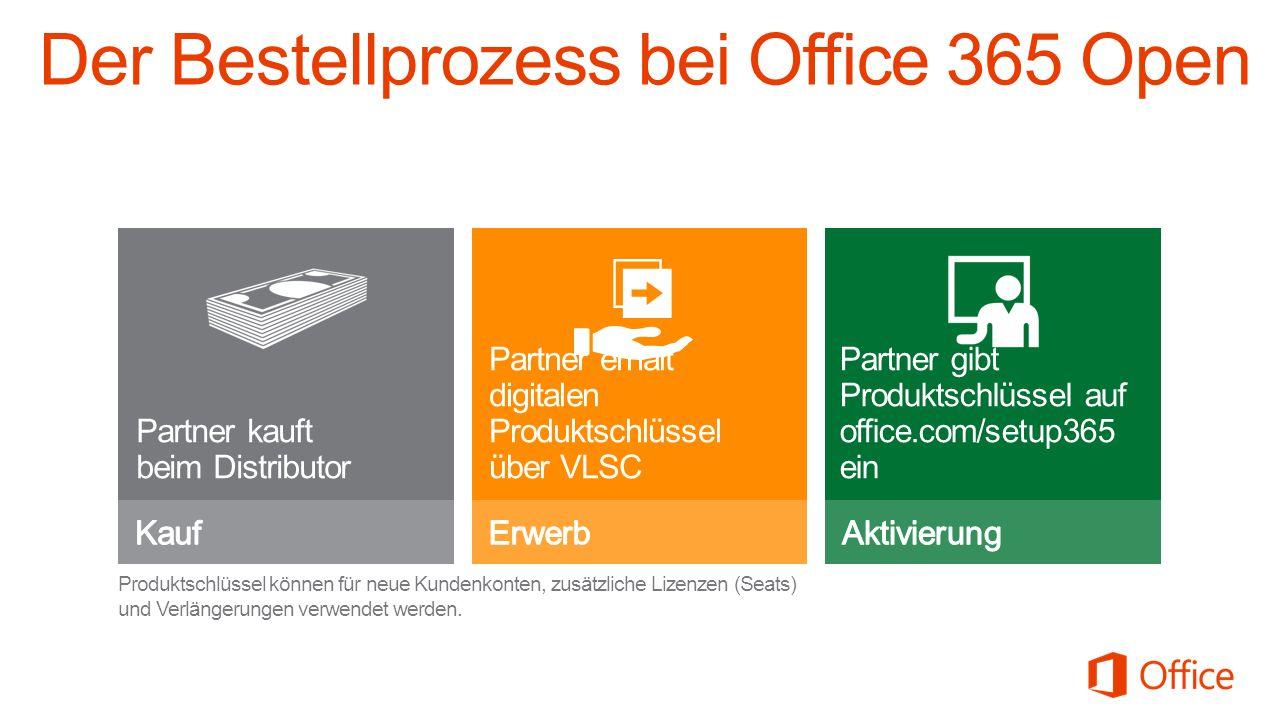 Der Bestellprozess bei Office 365 Open Partner kauft beim Distributor Partner gibt Produktschlüssel auf office.com/setup365 ein Produktschlüssel können für neue Kundenkonten, zusätzliche Lizenzen (Seats) und Verlängerungen verwendet werden.