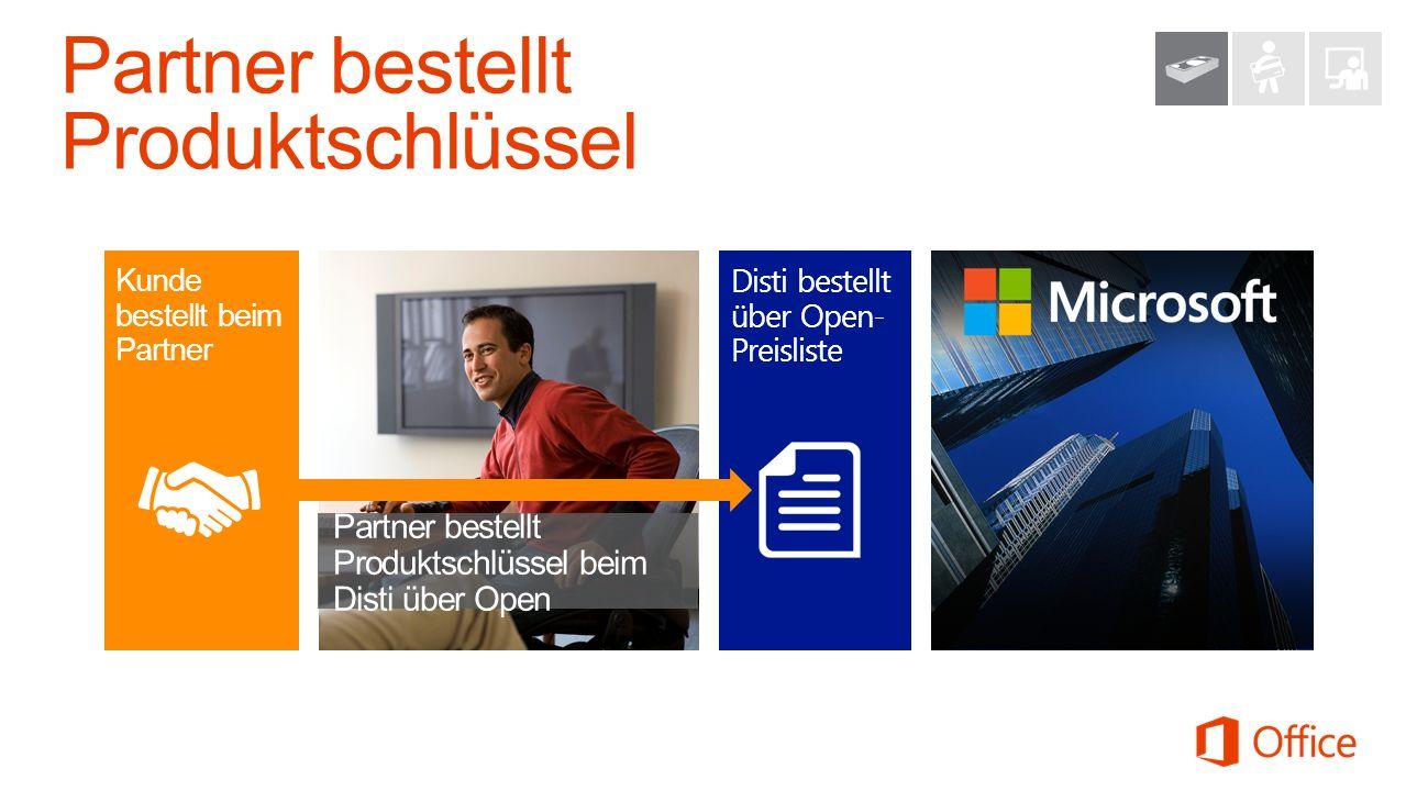 Disti bestellt über Open- Preisliste Partner bestellt Produktschlüssel beim Disti über Open Kunde bestellt beim Partner