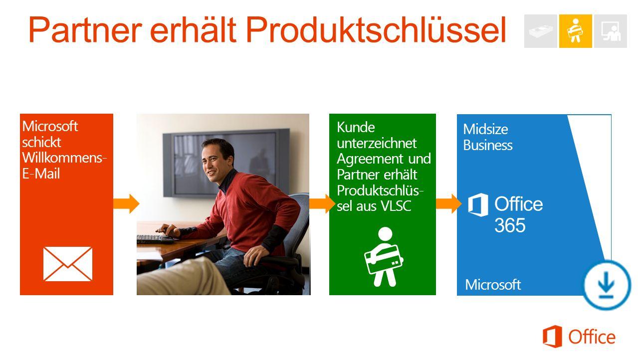 Microsoft schickt Willkommens- E-Mail Office 365 Midsize Business Microsoft Partner and Customer Kunde unterzeichnet Agreement und Partner erhält Produktschlüs- sel aus VLSC