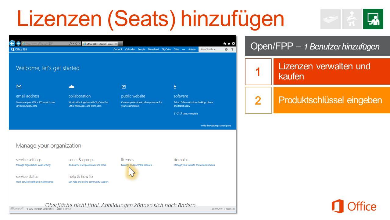 Open/FPP – 1 Benutzer hinzufügen Lizenzen verwalten und kaufen Oberfläche nicht final.