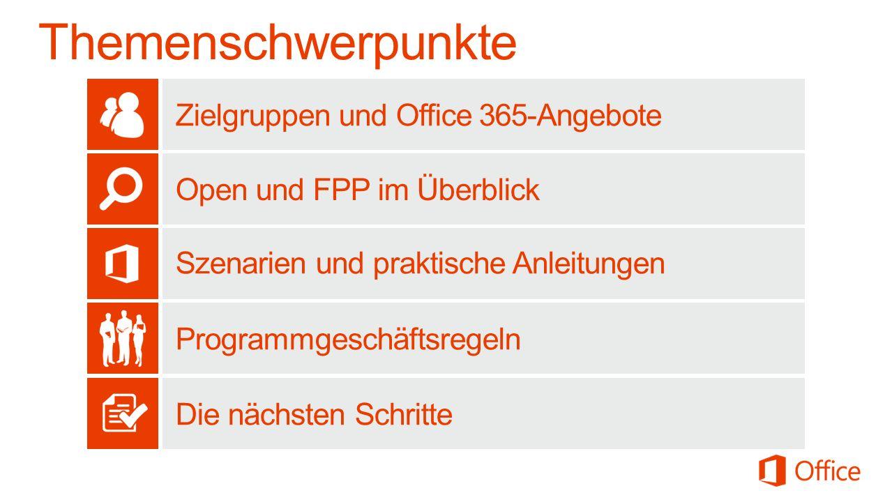 Zielgruppen und Office 365-Angebote Open und FPP im Überblick Szenarien und praktische Anleitungen Programmgeschäftsregeln Die nächsten Schritte